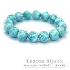Bracelet de 16 Perles en Larimar - 18 cm - 66.8 gr