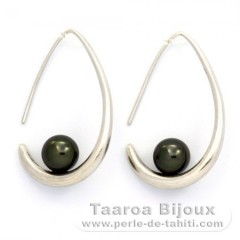 Rhodiated Sterling Silver Earrings and 2 Tahiti Pearls Round C 8 mm
