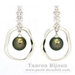 Rhodiated Sterling Silver Earrings and 2 Tahiti Pearls Round C 8.2 mm