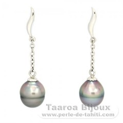 Rhodiated Sterling Silver Earrings and 2 Tahitian Pearls Ringed B 8.3 mm