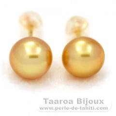 Boucles d'oreilles en Or 18K et 2 Perles d'Australie Semi-Baroques B 8.9 mm