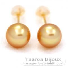 18K Gold Ohrringe und 2 Halbrunde AustralianPerlen B 8.3 mm