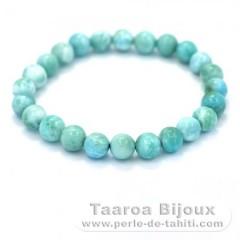 Armband aus 24 Larimar-Perlen - 15 cm - 12.4 gr