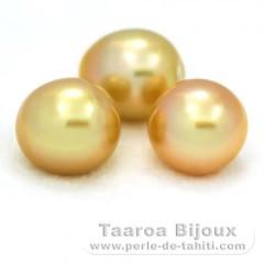 Lot de 3 Perles Australiennes Semi-Baroques A+ de 12.1 à 12.3 mm