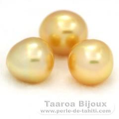 Lot de 3 Perles Australiennes Semi-Baroques A+ de 11.1 à 11.2 mm
