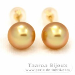Boucles d'oreilles en Or 18K et 2 Perles d'Australie Semi-Baroques AA 8.5 mm