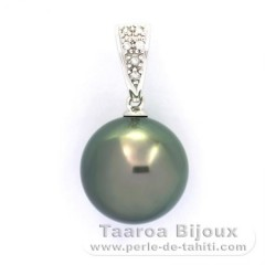 Pendentif en Or blanc 14K + 6 diamants 0.04 carats VS1 et 1 Perle de Tahiti Ronde B 11.8 mm