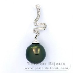 Pendentif en Or blanc 14K + 13 Diamants 0.10 carats VS1 et 1 Perle de Tahiti Semi-Baroque B 11.8 mm