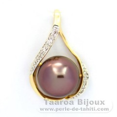 Pendentif en Or 14k + 6 diamants 0.04 carats VS1 et 1 Perle de Tahiti Semi-Ronde A 10.1 mm