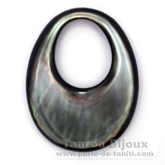 Forme ovale en nacre de Tahiti - 45 x 35 mm