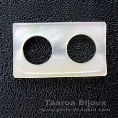 Rechteck Form aus Perlmutt - 14 x 8 x 3.5 mm