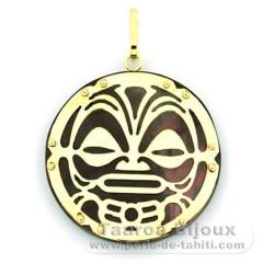 18K Gold and Tahitian Mother-of-Pearl Pendant - Diameter = 27 mm - Mana Tiki