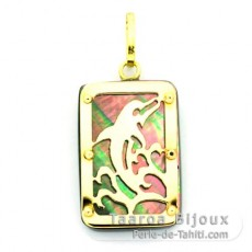 Ciondolo in Oro 18 K e Madreperla di Tahiti - Dimensioni = 18 X 12 mm - Delfino