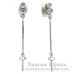 Orecchini per le perle di 8 a 9.5 mm - Argento .925 - Gioielli per le Perle