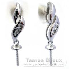 Ohrringe für Perlen von 9 bis 12 mm - Silber