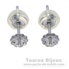 Aretes para perlas de 5 a 8 mm - Oro blanco 18 K