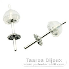Earrings for pearls from 8 to 11 mm - 18 K solid white Gold - Settings for pearls