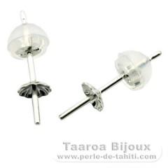Aretes para perlas de 8 a 11 mm - Oro blanco 18 K