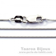 Rhodiated Sterling Silver Chain - Length = 50 cm - 20'' / Diameter = 0.6 mm