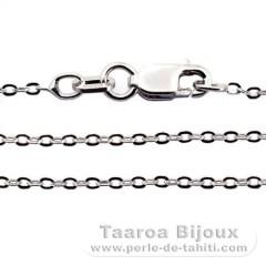 Rhodiated Sterling Silver Chain - Length = 45 cm - 18'' / Diameter = 1.3 mm