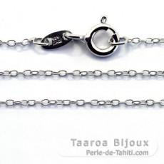 Rhodiated Sterling Silver Chain - Length = 45 cm - 18'' / Diameter = 1 mm