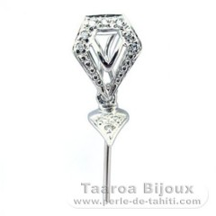 Rhodiated Sterling Silver + Rhodium Pendant for 1 Pearl from 11.5 to 12 mm - Setting for pearls