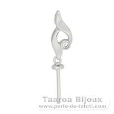Silber mit einer Schicht Rhodium bedeckt Anhänger von 1 Perle ab 10 bis 12 mm