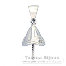 Rhodiated Sterling Silver Pendant for 1 Pearl from 11 to 15 mm