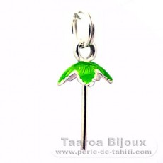 Rhodiated Sterling Silver Pendant for 1 Pearl from 7.5 to 9 mm