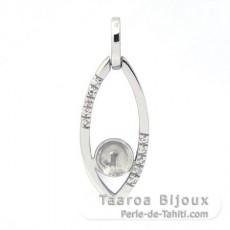 Rhodiniertem 925er Sterling Silber Anhänger für 1 Perle von 8 bis 9.5 mm