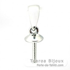 18K Solid White Gold Pendant for 1 Pearl from 10 to 15 mm