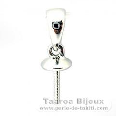 Pendentif en Or blanc 18K pour 1 Perle de 10 à 12 mm - Apprêt pour Perles