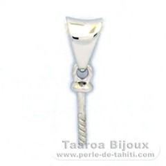 18K Solid White Gold Pendant for 1 Pearl from 9 to 11 mm